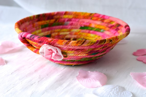 Magenta Fabric Basket, Handmade Fuchsia Bowl, Cute Key Tray, Desk Accessory Basket, Pink Artisan Quilted Bowl, Ring Dish