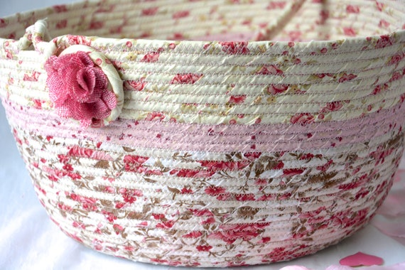 Shabby Chic Basket, Beautiful Round Basket, Handmade Textile Art Basket, Designer Rope Basket with handle, Pink Chic Fabric Bin