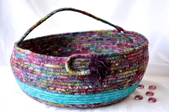 Violet Knitting Basket, Handmade Textile Art Basket, Bolga Coiled Basket with handle, Farmhouse Fabric Bin, Country Chic Basket, Yarn Holder