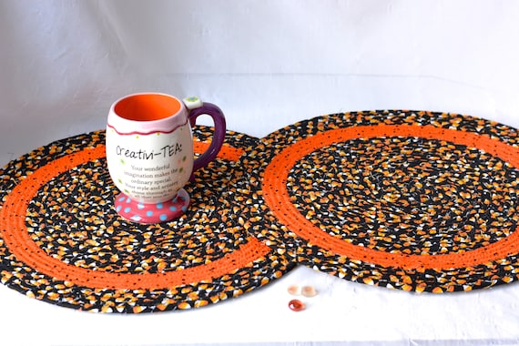 "Fall Place Mat, 1 Black Trivet, 15"" Handmade Candy Corn Mug Rug, 1 Halloween Hot Pad,  Fun Fabric Potholder, Coiled Rope Mat"