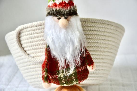 Gnome Gift Basket, Handmade Christmas Bowl, Neutrals Napkin Basket, Cute Holiday Decor, Country Fruit Bowl,  hand coiled rope basket
