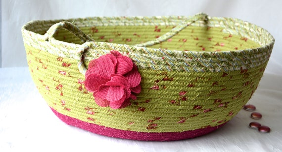 Bolga Storage Basket, Blanket  Holder, Handmade Textile Art Basket, Designer Rope Basket with handle, Chartreuse Pillow Bin, Yarn Bin