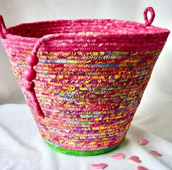 Magenta Waste Basket, Handmade Pink Batik Handled Basket, Receptacle Trash Bin, Unique Dust Bin, Waste Can for Office or Family Room