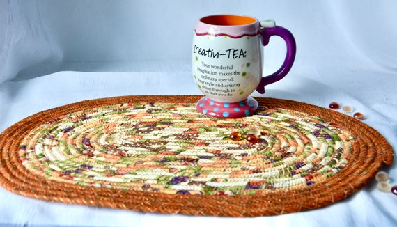 "Fall Table Topper, 1 Handmade Oval Trivet, 12"" Table Mat, Foliage Potholder, Thanksgiving Table Runner, Autumn Hot Pad, Fall Place Mat"
