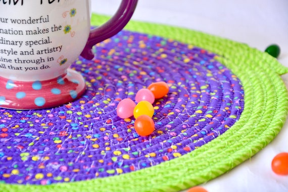 Fun Place Mat, Fabric Trivet, Handmade Hot Pad, Child Mug Rug, Purple Home Decor, Table Mat, Potholder, Table Topper, Runner