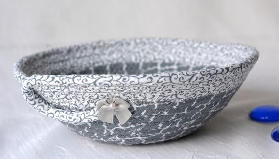 Gray Candy Dish, Cute Ring Holder Tray, Handmade Fabric Bowl, Small Grey Fabric Dish, Cute Desk Accessory Basket, Soft Fiber Pottery