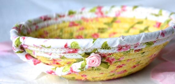 Bathroom Fabric Basket, Handmade Floral Basket, Girlfriend Gift Favor, English Garden Decor, Ring Dish Bowl, Desk Accessory Bowl