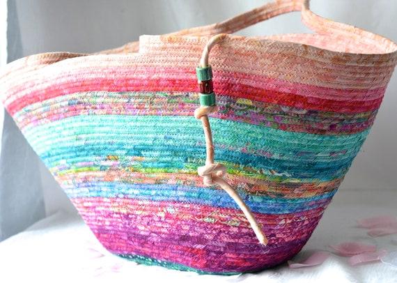 Fall Home Decor, Tote Bag, Handmade Batik Basket, Modern Picnic Basket, Laptop Purse Case, Unique  Coiled Rope Basket, Clothesline ArtOOAK