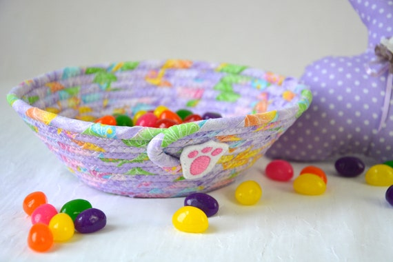 Lavender Easter Basket, Handmade Candy Bowl, Cute Ring Dish, Desk Accessory Basket, Ultra Violet Artisan Quilted Bowl, Easter Decoration