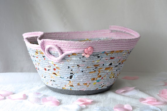 Grey Gift Basket, Handmade Baby Shower Gift, Girl Nursery Decor Basket, Gray and Pink Fabric Basket, Diaper Bin, Doll Bed