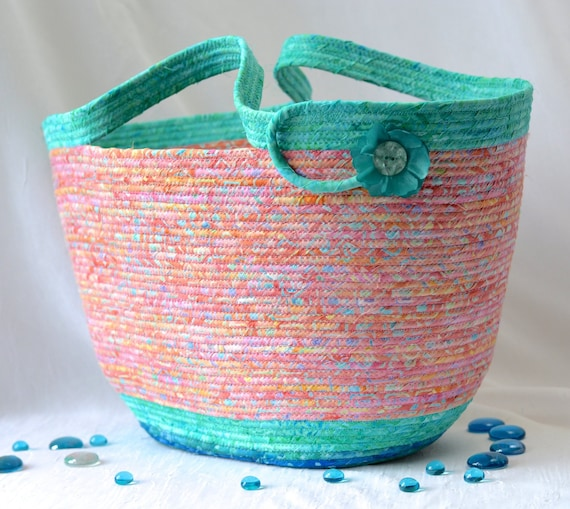Beach Bag Basket, Handmade Knitting Project Bin, Aqua Coral Summer Bag, Laptop Case, Gorgeous Batik Basket, Cottage Chic Rope Basket
