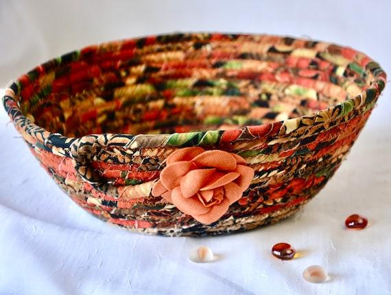 Fall Foliage Basket, Handmade Fabric Bowl, Earthy Gift Basket, Napkin Holder, Fruit Bowl, Bread Basket, Table Decoration