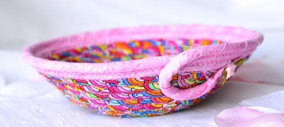 Pink Party Favor, Potpourri Bowl, Candy Dish, Cute Handmade Key Bowl, Rainbow Ring Basket, Cute Picnic Basket, Change Basket,  Coiled Basket