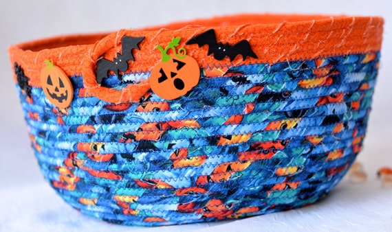 Halloween Decoration, Handmade Blue and Orange Bowl, Aqua Crayon Bucket, Storage Basket, Bin, Fun Stuffed Animal Container