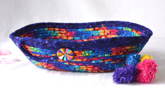 Remote Control Bowl, Handmade Purple Eyeglass Holder, Artisan Fabric Rope Basket, Modern Chic Fabric Bowl, Coiled, Quilted
