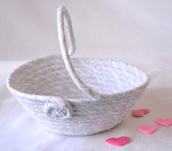 Flower Girl Basket, Handmade White Wedding Basket, Lovely White Glitter Basket, White Card Holder