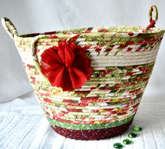 Maroon Waste Basket, Handmade Green Handled Basket, Receptacle Trash Bin, Floral Recycle Dust Bin, Waste Can for Bathroom, Office