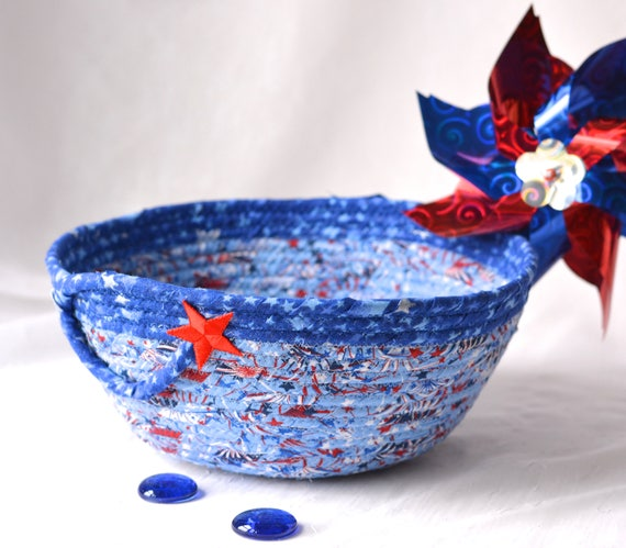Gift for Dad, Him, Men,  Football Party Bowl, Handmade Red White and Blue Chip Bowl, Veteran Gift Basket, Blue Patriotic Decoration