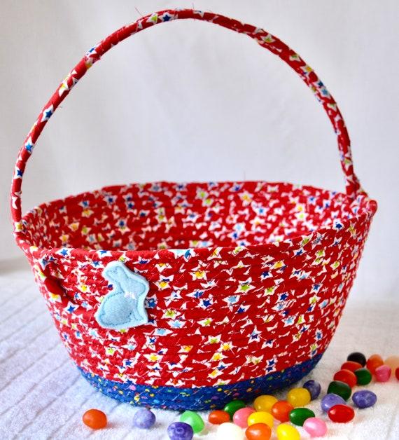 Boy Easter Bucket, Handmade Red Easter Basket, Bunny Holder, Easter Egg Hunt Bag, Baby First Easter Basket, Free Child Name Tag