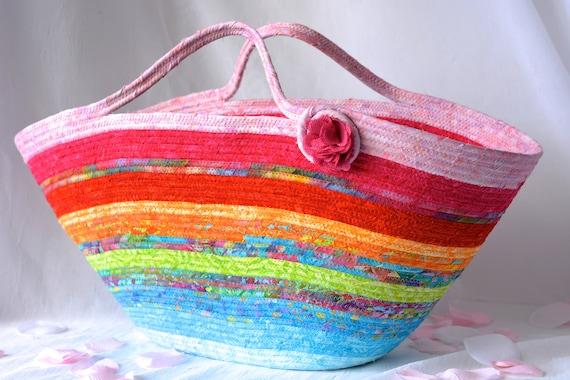 Beach Bag Tote, Moses Basket, Textile Art Basket, Handmade Batik Fabric Basket, Rope Tote Bag, Laptop Case, Baby Shower Gift Basket
