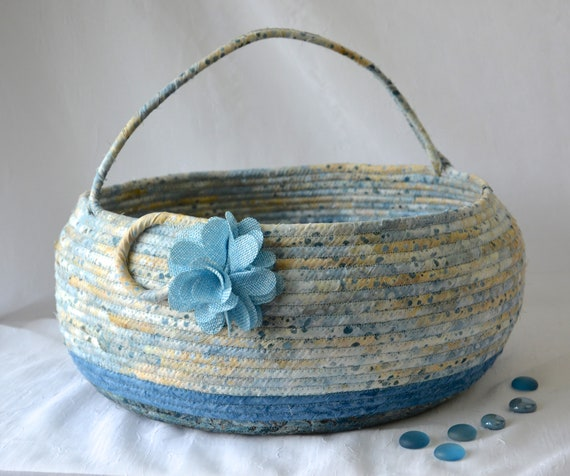 Blue Bolga Beach Basket, Handmade Textile Art Basket, Coiled Rope Basket with handle, Farmhouse Fabric Bin, Cottage Chic Basket
