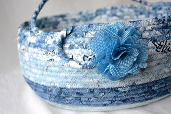 Blue Scarf Basket, Storage Container, Handmade Hat and Gloves Bin, Blanket Basket with handle, Recycle Paper Bin, Yarn Organizer