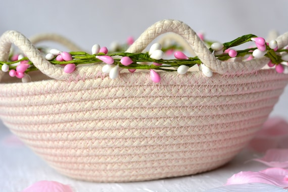 Pink Potpourri Basket, Handmade Clothesline Quilted Bowl, Country Farmhouse Home Decor, Coiled Basket, Rustic Natural Raw Rope Decor