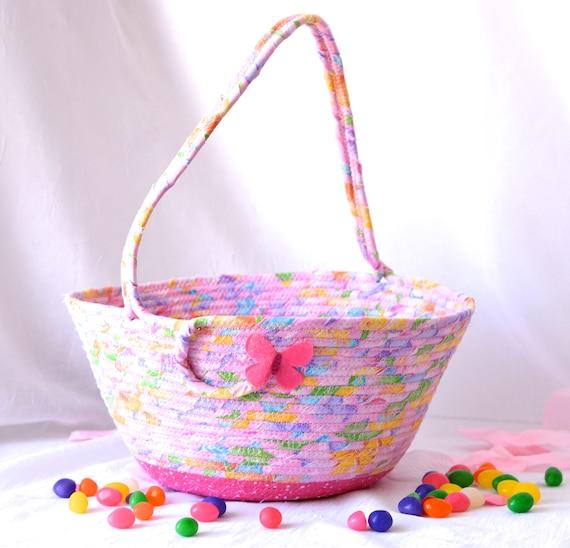 Pink Easter Basket, Pink Flower Girl Basket, Handmade Easter Bucket, Wedding Basket, Girl Easter Bucket, Easter Decoration