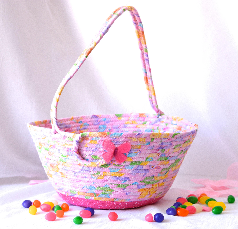 Pink Easter Basket Pink Flower Girl Basket Handmade Easter Bucket