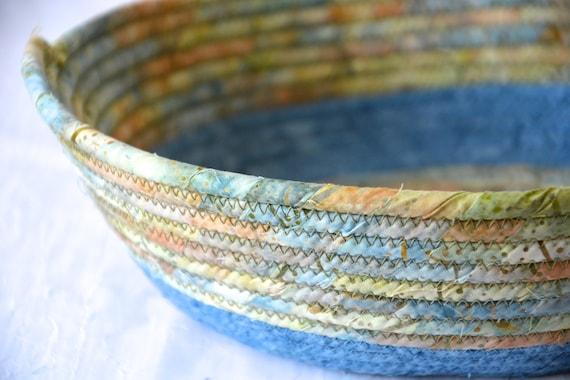 Blue Bread Basket, Paper Plate Holder, Handmade Fruit Bowl, Party Dessert Caddy, Country Batik Fiber Basket, Wall Rope Basket, Napkin Holder