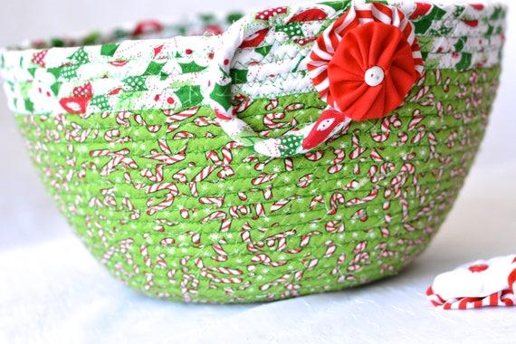 Christmas Decoration, Holiday Artisan Quilted Basket, Handmade Christmas Card Holder, Christmas Home Decor, Green Candy Cane Bowl