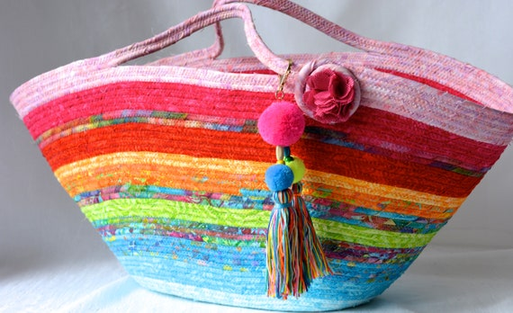Textile Art Basket, Handmade Batik Fabric Basket, Rope Tote Bag, Laptop Case, Baby Shower Gift Basket, Unique Moses Basket