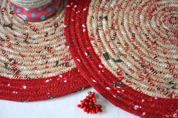 """Gingerbread Christmas Trivets, 2 Handmade Place Mat, 12"""" Quilted Potholders, Table Topper, Christmas Holiday Table Runner, Trivet"""