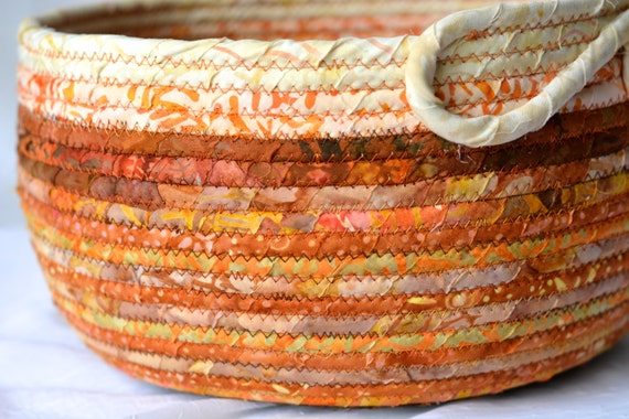 Thanksgiving Napkin Basket, Beautiful Fabric Bowl, Handmade Coiled Basket, Burnt Orange Fall Bowl, Batik Textile Art Basket