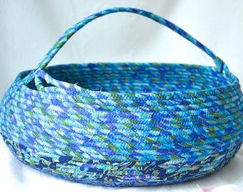 Yarn Holder Bin, Bolga Storage Container, Handmade Scarf Shawl Bin, Coiled Fabric Basket with handle, Pretty Azure Blue Basket