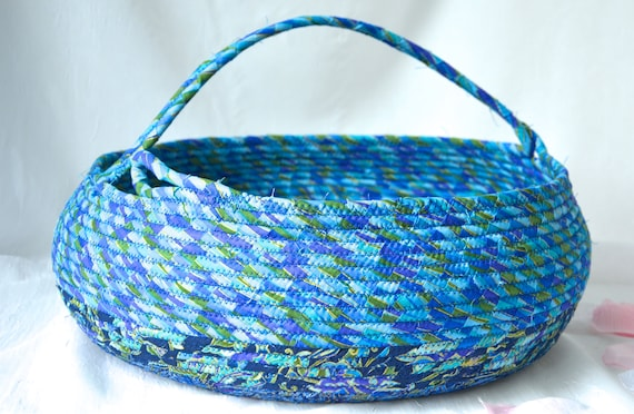 Blanket Holder Bin, Bolga Storage Container, Handmade Textile Art Basket, Coiled Rope Basket with handle, Pretty Azure Scarf Basket