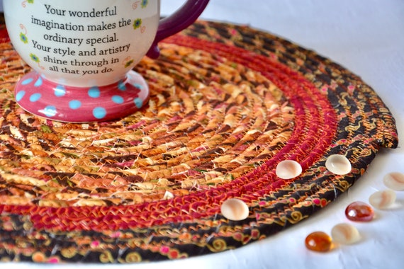 "Thanksgiving Place Mat, 1 Handmade Trivet, 14"" Table Mat, Fall Foliage Potholder, Table Topper, Autumn Hot Pad, Orange Red Place Mat"