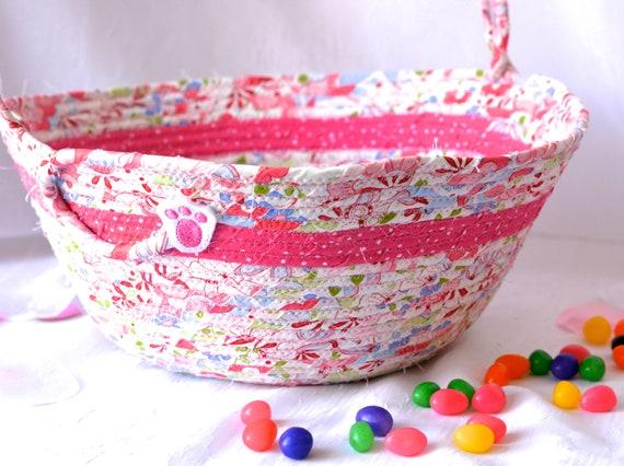 Pink Easter Basket, Pink Flower Girl Basket, Handmade Nursery Bin, Wedding Basket, Baby Girl Room Decor, Diaper Holder, Lotion  Bowl