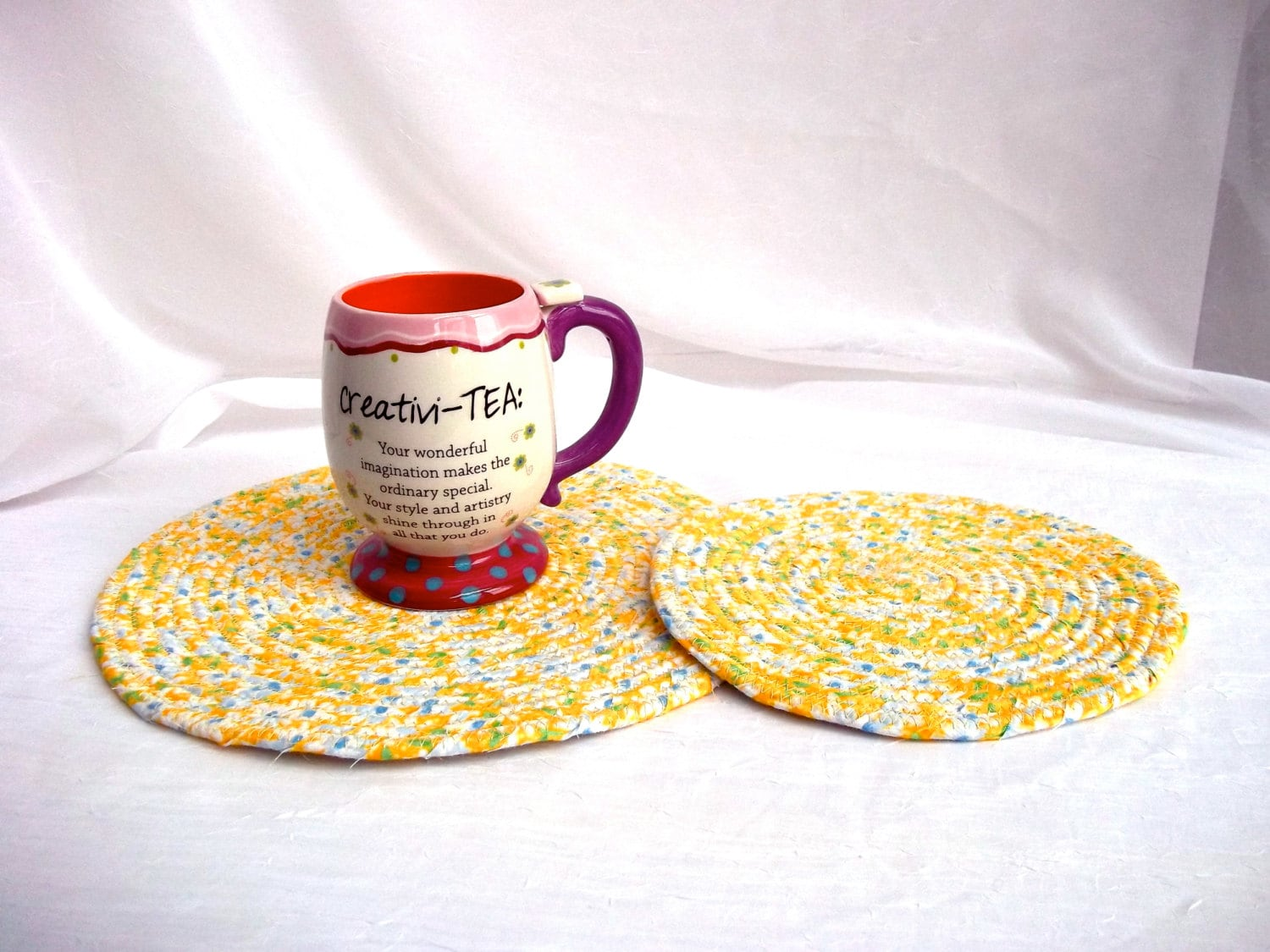 Spring Yellow Trivets 2 Handmade Fabric Hot Pads Spring Decoration 2 Kitchen Mug Rugs Spring Table Toppers Lemon Yellow Potholders