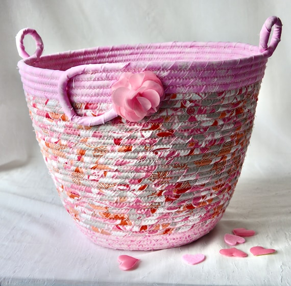Pink Waste Basket, Handmade Nursery Handled Basket, Receptacle Trash Bin, Unique Floral  Dust Bin, Waste Can for Bathroom, Office