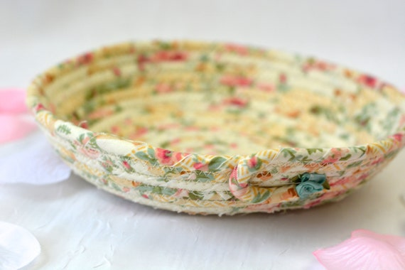 Shabby Chic Floral Basket, Handmade Sage Green Bowl, Creamy Ring Dish, Makeup Organizer, Cute Desk Accessory, English Garden Gift Basket