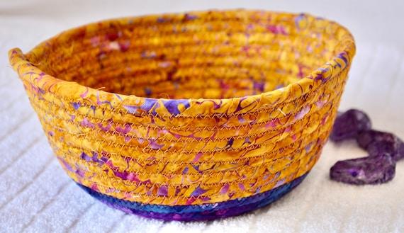 Batik Fabric Basket, Country Bread Basket, Fall Fruit Bowl, Handmade Key Bowl, Golden Tan Napkin Holder, Mail Bin, Remote Basket,