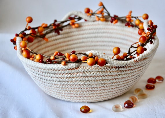 Thanksgiving Fruit Bowl, Handmade Napkin Basket, Fall Decor Bowl, Country Farmhouse Home Decor, Bread Basket, Rustic Neutrals Key Bowl