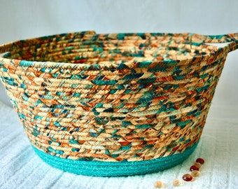Rustic Turquoise Basket, Storage Container, Handmade Shawl Basket, Coiled Fabric Basket, Bath Decor, T-Paper Bin, Yarn Holder