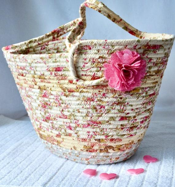 Shabby Chic Tote Bag, Handmade Moses Basket, Lovely Pink Storage Organizer, Shawl Holder, Beach Bag, Picnic Basket, Gift Basket