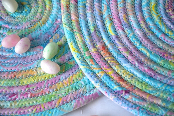 Easter Place Mats, 2 Lovely Spring Trivets, Quilted Hot Pads, Pastel Mug Rugs, Potholders, Batik Table Toppers, Table Runner