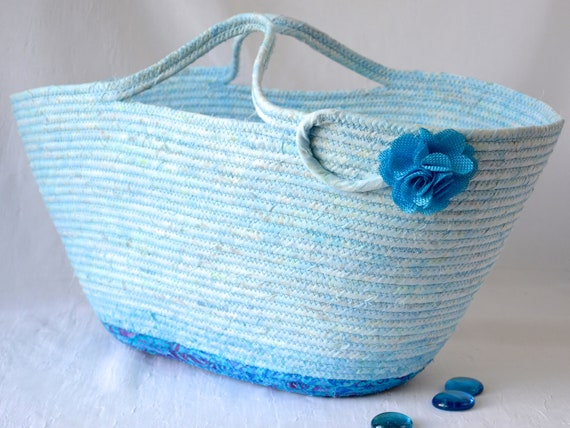 Beach Tote Bag, Handmade Moses Basket, Lovely Aqua Batik Handbag, Laptop Purse Case, Unique Coiled Rope Basket, Clothesline Project Bag