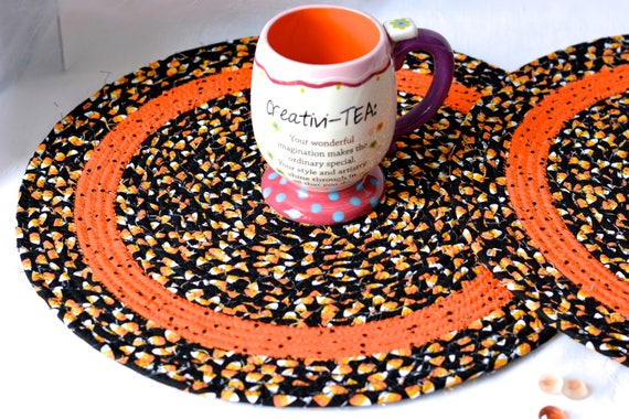 "Halloween Table Topper, 1 Black Fall Trivet, 15"" Handmade Candy Corn Table Runner, 1 Halloween Hot Pad,  Fun Fabric Potholder, Coiled Mat"
