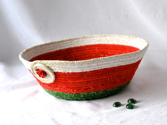 Christmas Card Basket, Holiday Home Decor Bowl, Lovely Christmas Decoration, Homemade Red and Green Holiday Basket, Handmade