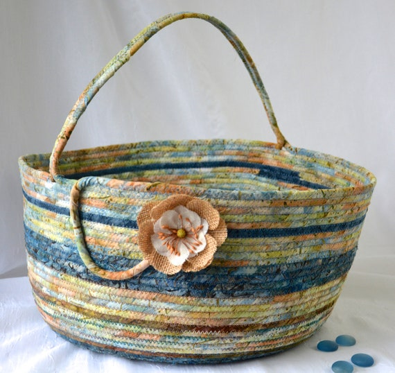 Indigo Bolga Storage Container, Handmade Textile Art Basket, Coiled Rope Basket with handle, Farmhouse Fabric Bin, Country Chic Basket
